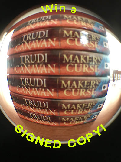 "Photo of stack of books taken with a silly fish eye lens with the words ""Win a signed copy!"" added in ridiculously corny distorted text."
